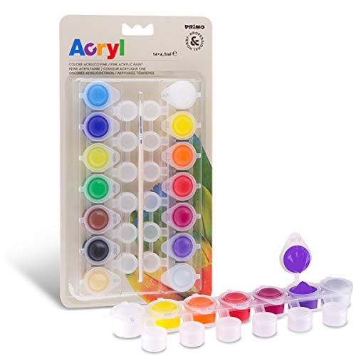 Set 14 colori acrilici per disegnare, decori découpage, creare nail art su ricostruzione unghie, | Colori acrilici ad acqua già pronti all'uso - colori utilizzabili su diverse superfici - 63 g