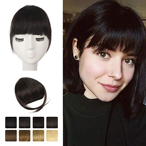 Clip in frangia, BARSDAR 100% Frontale Extension Hair Bang Clip in French Bangs Neat Bangs con aste Clip on Fringe Bangs Capelli veri per le donne Colore naturale lavabile/tingibile