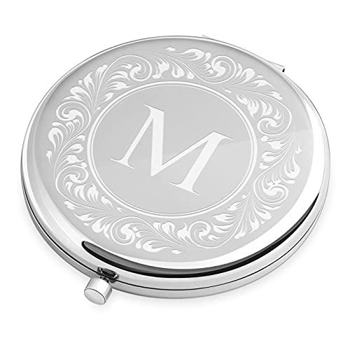 Maverton Specchietto da Borsa Personalizzato con Incisione Laser - Specchio Ingranditore + Specchio - Specchio Trucco - Pieghevole - Tascabile - regalo donna - Iniziale
