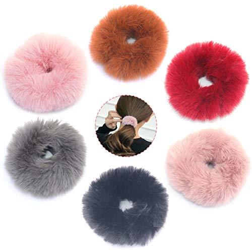 Gresunny 6 Pezzi elastici per capelli scrunchies legami di capelli pompom elastici capelli di pelliccia finto elastico fasce per capelli morbido colorati accessori per capelli per donne o ragazze