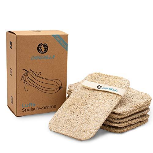 Chinchilla® Luffa Spugne | Natural Sponge per Cucina Eco | biodegradabili, compostabili, vegane e sostenibili | Spugna Cucina Naturale | per campeggio e casa