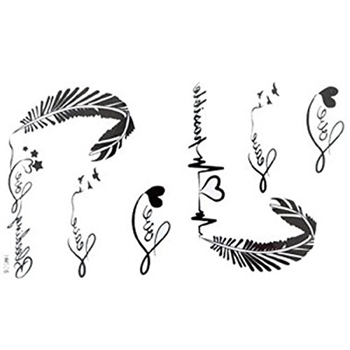 GGSELL The New release tattoo stickers waterproof female black and white letters of the alphabet ECG feather fake tattoos