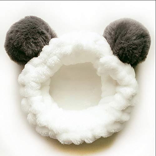 Fasce per trucco per il lavaggio del viso Maschera per il viso doccia, per donna Ragazza Fasce per capelli in peluche Fascia elastica per capelli del felpa con pompon Grigio (Panda)