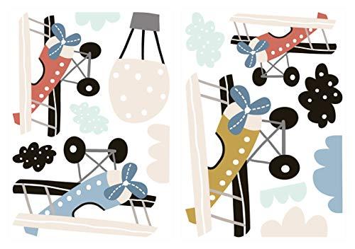 dekodino® Adesivo murale Aerei a pastello mongolfiera decorazione