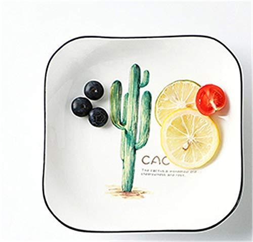 qwess necessità Quotidiane Piatto A Forma di Albero Piatto A Forma di Cactus Piatto da Tavola in Ceramica Bistecca Piatto Piano Famiglia Piatto Quadrato Piatto da Pranzo Piatto da Colazione