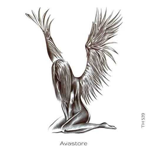 Avasore - Tatuaggio temporaneo da donna, motivo: angelo di purezza realistico, colore: Nero