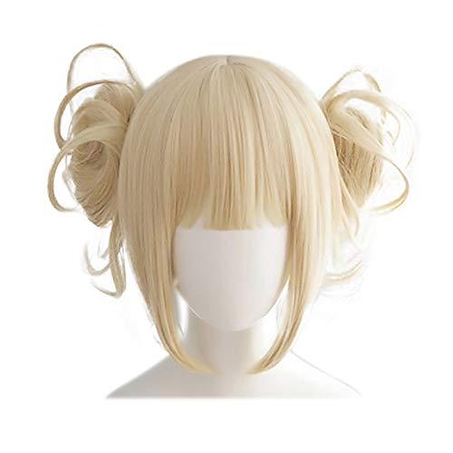 LACKINGONE - Parrucca bionda da donna Lonita con chignon, senza cuffia, per cosplay e feste