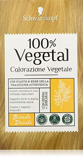 Schwarzkopf 100% Vegetal, Colorazione Vegetale per Capelli, Tinta per Copertura dei Capelli Bianchi, Formula Vegana Ultra Delicata, Biondo Dorato