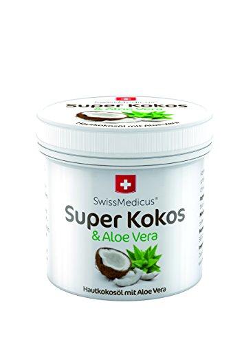 SwissMedicu Super COCCO con aloe vera per la pelle, Olio di cocco con aloe vera, cura idratante per viso, corpo, capelli, pelle, labbra dalle Filippine, profumo naturale di noce di cocco, 150 ml