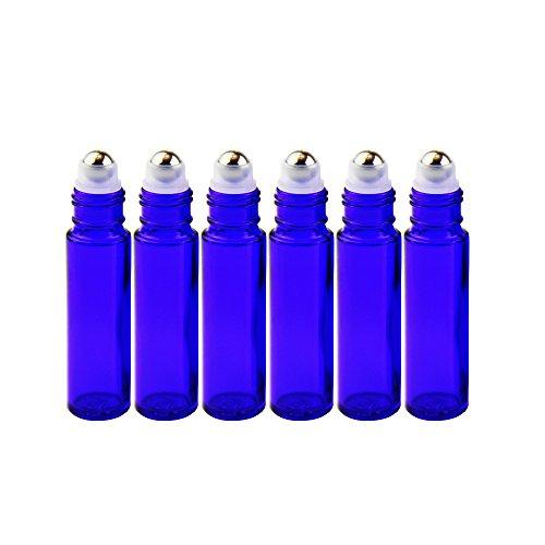 Yizhao Roll On Vuoto per Oli Essenziali,Profumi,10 ml Blu Bottiglie Vuote in Vetro, con Sfera in Acciaio Inossidabile – 6 PCS