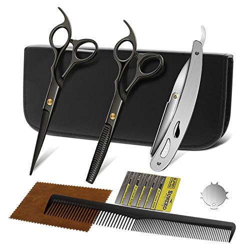 Forbici Parrucchiere Kit Professionale in Acciaio Inox Forbici Capelli per Texturizzare e Rasoio Parrucchiere Forbici per Sfoltire i Capelli
