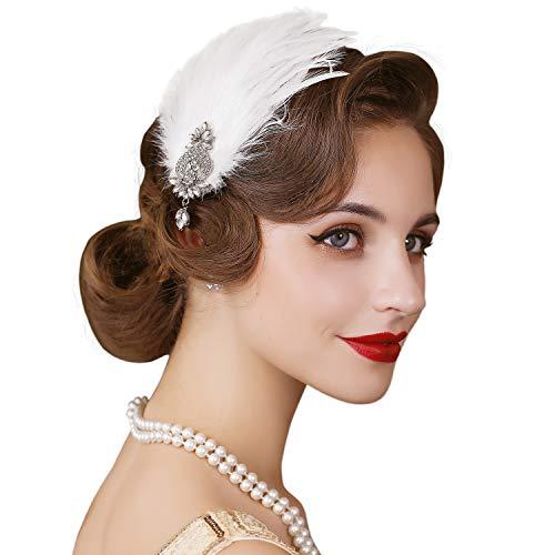 SWEETV - Fascia per capelli in piuma anni '20, accessorio per capelli Gatsby, accessorio per capelli anni '20, colore: Bianco