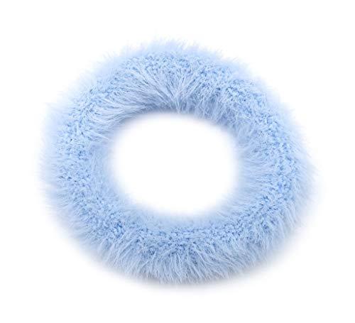 Irresistible1 - Elastico per capelli in finta pelliccia, misura grande, senza nodi, diametro 7 cm, colore: Azzurro