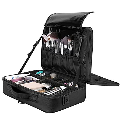 Luxspire Borsa Cosmetica con Specchio, Borsetto Cosmetico Portatile Professionale con Tracolla per Viaggio, Artisti Bagaglio Spazzole Borsa Bagaglio Organizer Tool con Divisor Regolabili - Nero