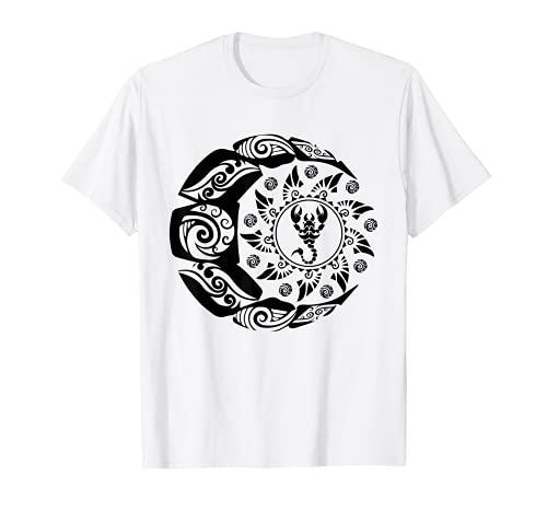 Maori Tatuaggio Polinesiano Scorpione Scorpione Zodiaco Luna Sole Maglietta