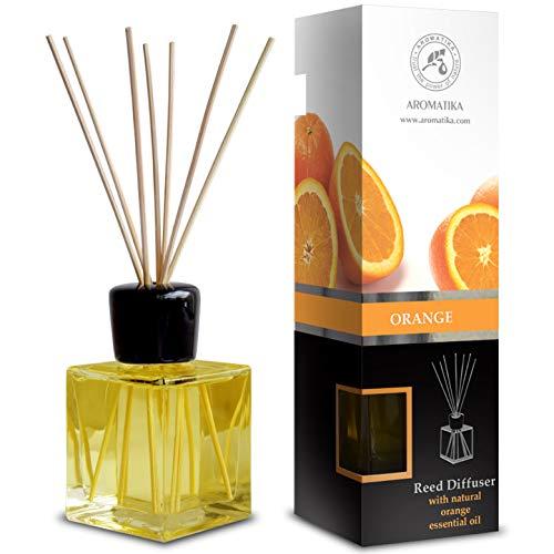 Diffusore con Olio Essenziale di Arancio Naturale 200ml - Fragranza Domestica Fresca e Duratura - 0% Alcool - Set Regalo con 8 Bastoncini di Bambù - Meglio per Aromaterapia - Spa - Casa - Bagno