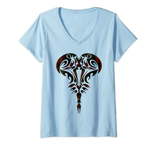Donna Tribal Scorpione Astrologia Segno zodiacale Tatuaggio Maglietta con Collo a V