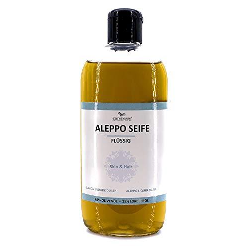 Carenesse Sapone Liquido Aleppo, 75% olio d'oliva + 25% olio di alloro, 250 ml, prodotto naturale, 100% vegetale, sapone liquido naturale