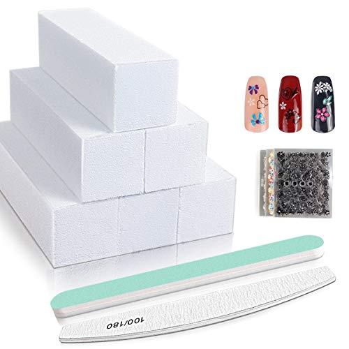 Buffer Unghie, lima per unghie Prefessional e blocco per smalto per nail art Gel con Adesivi per unghie 30 pezzi