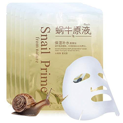 Maschera facciale, 5PCS Natural Snail Secretion Extract Concentrato Viso Idratante Umidità Anti-rughe Idratante Sbiancante Pelle Pori Maschera