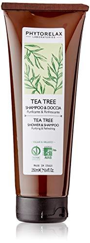 Phytorelax Laboratories 6022326 Tea Tree Vegan & Organic - Shampoo & Doccia – Purificante, Rinfrescante, Dermoprotettivo, Lenitivo. - 250ml