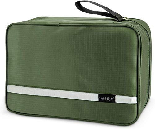Beauty Case da Viaggio, Carttiya Borsa da Toilette per Donna Uomo Beauty Case Grande Impermeabile, Gancio in Metallo per Appendere, Verde