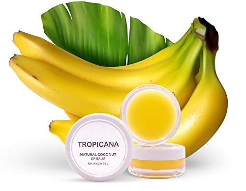 Tropicana Oil - Balsamo per labbra naturale a banana Happy 2 x 10 g   olio di cocco naturale spremuto a freddo   balsamo labbra con burro di karité e cera d'api al cacao, cera di candelilla