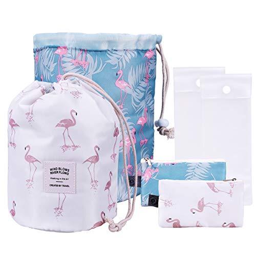 OZUAR 2 Pack Makeup Bags Borsa impermeabile con coulisse da viaggio,Astuccio per Trucco Make up Organizer + Mini Pouch + Custodia in PVC trasparente per donna Uomo (modello Flamingo, bianco e blu)