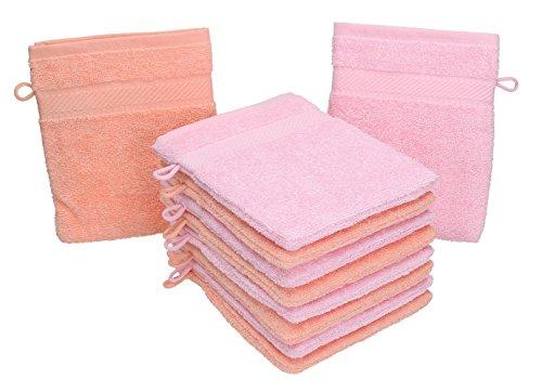 Betz 10 Guanti da Bagno manopola Palermo 100% Cotone Misure 16 x 21 cm Colore Rosa e Albicocca