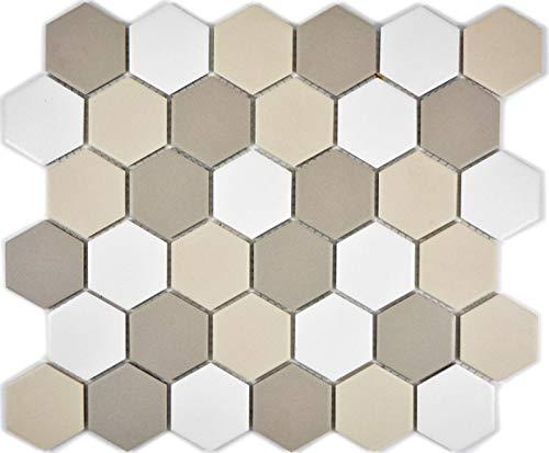 Piastrelle a mosaico in ceramica esagono bianco, beige chiaro, grigio chiaro, non smaltata, MOS11B-1122-R10