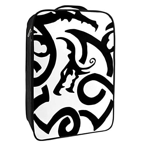 Scatola portaoggetti per scarpe da viaggio e uso quotidiano Tribale drago tatuaggio animale borsa organizer portatile impermeabile fino a 12 metri con doppia cerniera 4 tasche