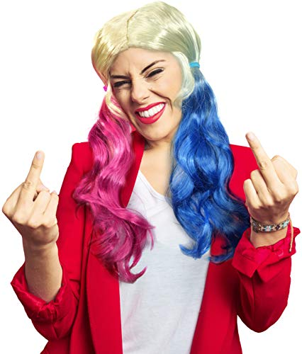 Balinco Parrucca Harley Quinn bionda con trecce Blu e Rosa - Come Una Perfetta aggiunta al Tuo Costume da Harley Quinn