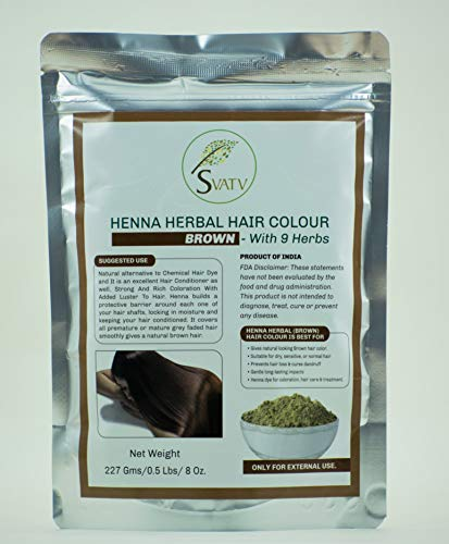 SVATV - Colore per capelli all'henné MARRON con 9 erbe II Mehndi per capelli, Colore naturale per capelli II 227 g, 0,5 libbre, 08 once