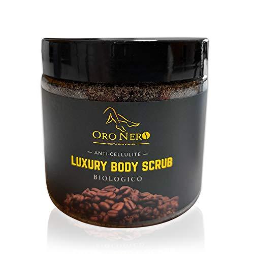 Luxury Scrub Biologico ORO NERO Esfoliante naturale delicato a base di Caffè dell'Etiopia adatto per Corpo Viso Gambe Glutei Piedi - Anticellulite - 200gr