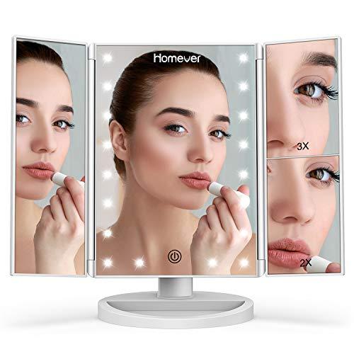 Specchio per il Trucco, Specchio Cosmetico Illuminato con Touch Screen e Tri-Fold, 3 Luminosità Regolabile, ingrandimento 1X/2X/3X, ricarica USB e rotazione 180°per regali donna originali (Bianca)