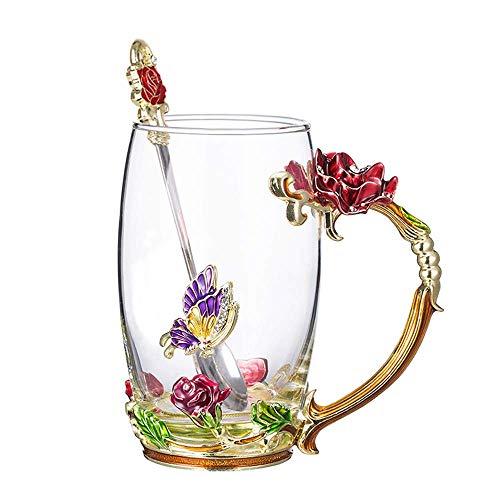 Tiang Glass Tea Cup,tazza da caffè con manico,unico personalizzato idee regalo di compleanno per le donne nonna mamma amica insegnanti -11oz/340,2