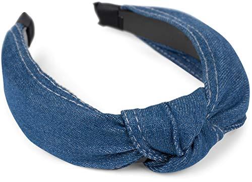 styleBREAKER Fascia per capelli donna in jeans con cuciture decorative e nodo decorativo, look retrò in denim, fascia per capelli, accessori per capelli 04027028, colore:Blu