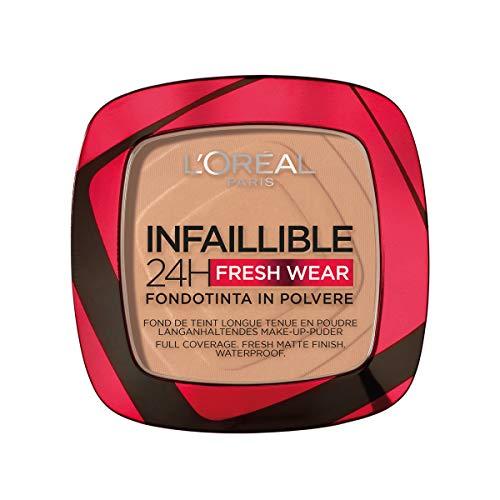 L'Oréal Paris Fondotinta Compatto Infaillible 24H Fresh Wear, Formula in Polvere, Mask-Friendly, Low-Transfer e Waterproof, Copre come un Fondotinta e Opacizza come una Polvere, 220 Sable/Sand