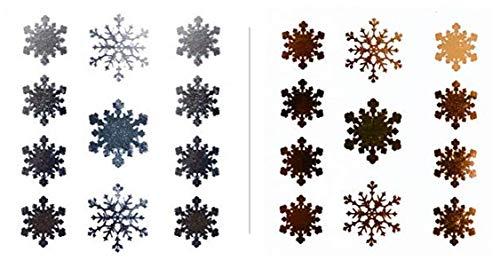 Tatuaggi per il viso con fiocchi di neve, confezione da 2 pezzi, F03, oro e argento, per effetto glitter