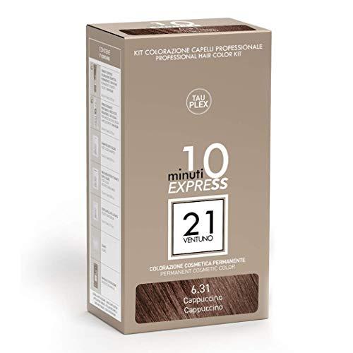 21 VENTUNO Tinta per Capelli senza Ammoniaca Professionale fai da te Copertura Capelli Bianchi in 10 minuti Senza Parabeni e Ammoniaca Colore Cappuccino 6.31 MADE IN ITALY