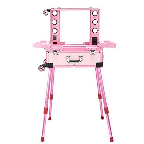 Cassa cosmetica a 24 pollici del carrello, professione con l'artista di trucco con luce/scatola leggera dello specchio, scatola di trucco nuziale della ruota universale (colore : Pink)