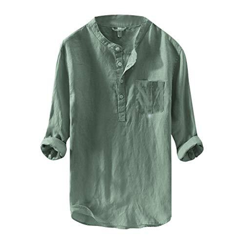 Xmiral Camicie da Uomo Casual a Manica Lunga Tinta Unita t-Shirt Camicetta Slim Manica Lunga Bottoni Vintage (M,2- Verde)
