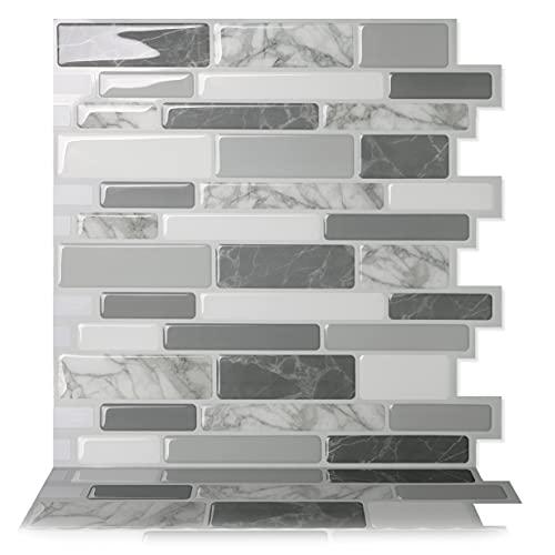 Tic Tac Tiles 30cm x 30cm 10 Pezzi Piastrelle autoadesive 3D adesivi per piastrelle per cucina e bagno - Polito Grigio