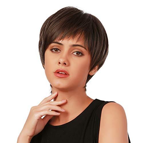 Emmor parrucche corte marrone scuro per donna Parrucca diritta sintetica per capelli naturali con frangia ordinata Parrucche complete per uso quotidiano