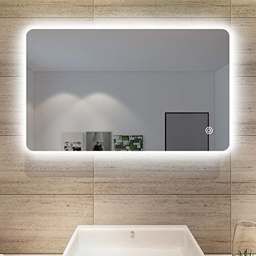 SONNI Specchio da Bagno Illuminato a LED, Specchio da Parete da Bagno 100 x 60cm Moderno, Bianco Freddo Impermeabile IP44 a Risparmio Energetico