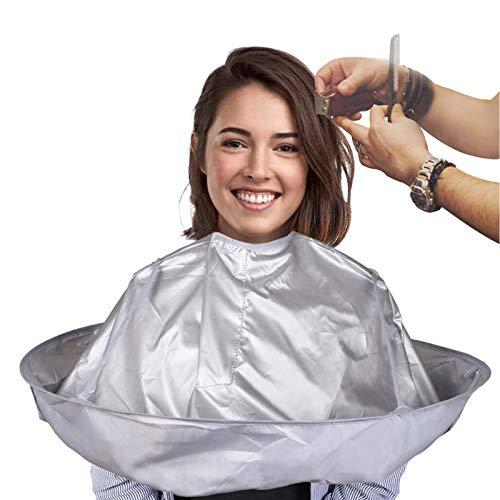 Ealicere Taglio Di Capelli Parrucchiere Mantello,Mantelle per Tagliare i Capelli,Chiusura con velcro e Impermeabile per Salone Barbiere Accessorio per lo Styling dei Capelli, argento