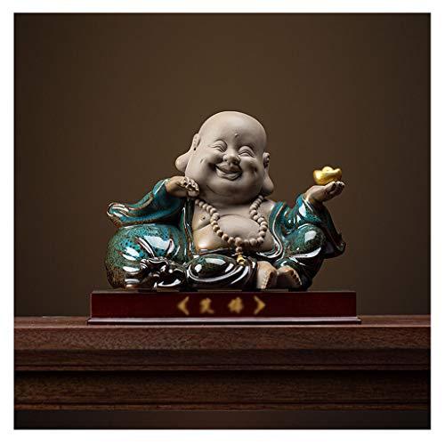 kiki Buddha Statua Decorazione Statue di Buddha Viola Sabbia Ceramica Ridere Miniature Regalo della Decorazione del Buddha Fortunato Decorazione Dono Home Office (Color : Blue)