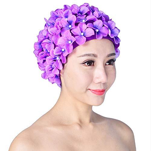 Cuffia da nuoto da donna, retro traspirante, con fiori, cappello da bagno, Viola, Taglia unica