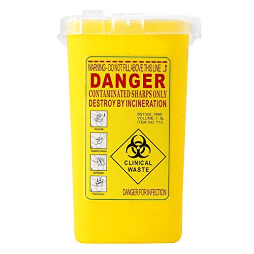 SUPVOX Contenitore smaltimento degli squali agrumi Biohazard con coperchio per forniture di viaggi e tatuaggi (giallo)