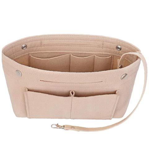Della borsa dell'organizzatore, Beige feltro sacchetto dell'organizzatore multi-sede inserto Tote Bag sacchetto dell'organizzatore del feltro Pocket Organizzatore sacchetto interno tasca per il